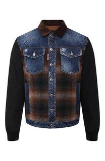 Пуховая куртка на пуговицах с отложным воротником Dsquared2