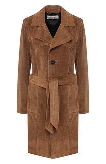 Кожаное пальто с поясом Saint Laurent
