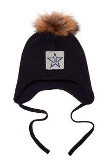 Синяя шапка с объемным помпоном Junior Republic
