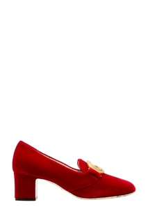 Красные бархатные туфли Gucci