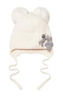 Белая шапка с помпонами и аппликациями Junior Republic