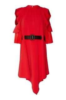 Красное платье с люверсами и плиссировкой Self Portrait