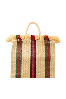 Бежевая сумка с плетеной отделкой Gucci