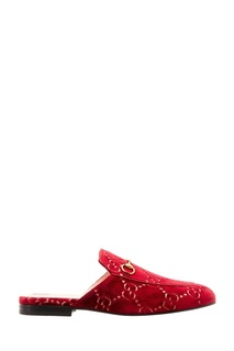 Бордовые слиперы с пряжками Princetown Gucci