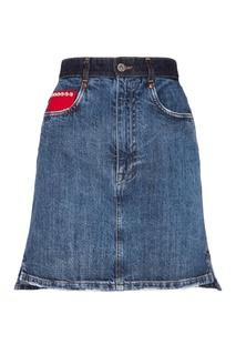 Джинсовая юбка с декором Miu Miu