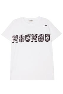 Белая футболка с логотипом Miu Miu