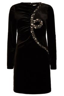 Черное платье миди со стразами Valentino