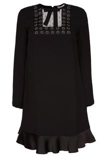 Черное платье с отделкой Red Valentino