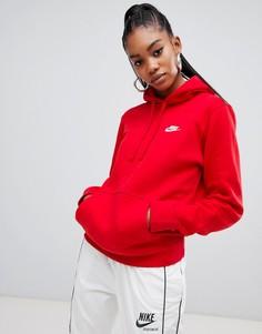 Красный худи с логотипом-галочкой Nike Club - Красный