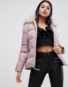 Короткая дутая куртка с капюшоном и искусственным мехом Lipsy - Розовый
