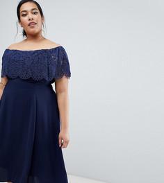 Кружевное платье миди с открытыми плечами Coast Plus - Темно-синий