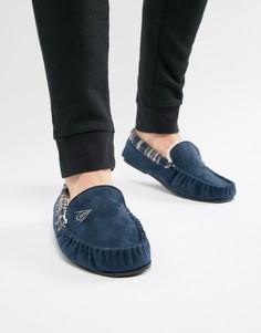 Слиперы из искусственной замши на меховой подкладке Dunlop - Темно-синий