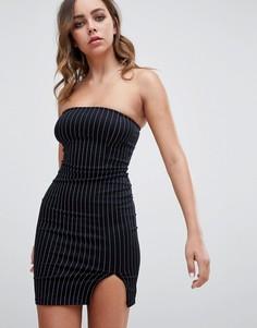 Облегающее платье-бандо в тонкую полоску Motel - Черный