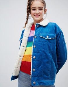 Синяя вельветовая куртка с воротником из овечьей шерсти Monki - Синий