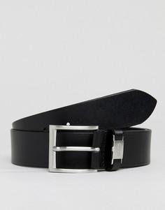 Черный кожаный ремень с логотипом BOSS Connio - Черный