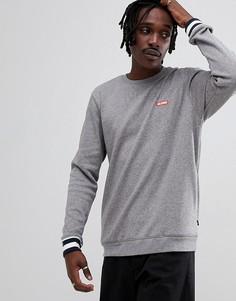 Серый свитшот с контрастными манжетами и логотипом Globe - Серый