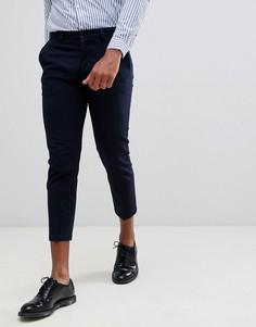 Укороченные строгие облегающие брюки в полоску Celio - Темно-синий