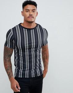 Черная обтягивающая футболка в полоску с круглым вырезом River Island - Черный