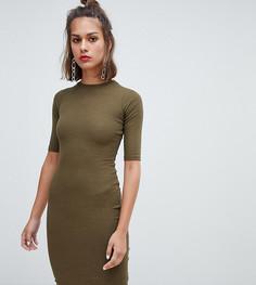 3cf20d5f424f8 Облегающее платье цвета хаки с длинными рукавами Pull&Bear - Зеленый  Pull&;Bear