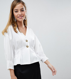 Блузка на пуговицах с отделкой на поясе Vero Moda Petite - Белый