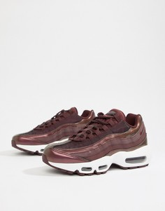 Бордовые кроссовки с эффектом металлик Nike Air Max 95 - Красный