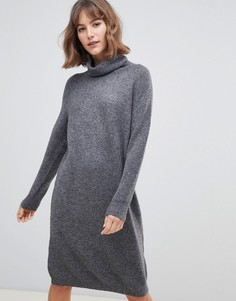 Платье-джемпер с отворачивающимся воротом Selected - Серый