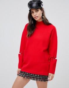 Длинный джемпер с карманами и шнуровкой на рукавах Liquorish - Красный