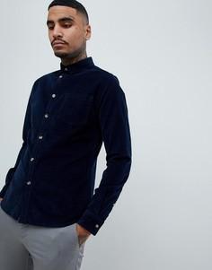 535d4db838eb328 Темно-синяя рубашка узкого кроя из эластичного вельвета ASOS DESIGN -  Темно-синий