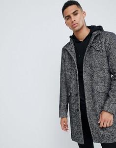 Шерстяное пальто с воротником-стойкой Only & Sons - Серый