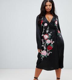 Платье миди с вышивкой ASOS DESIGN Curve - Черный
