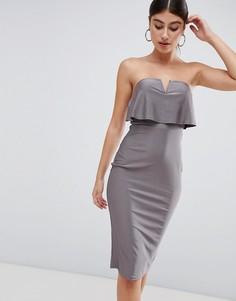 Платье-футляр миди с открытыми плечами AX Paris - Серый