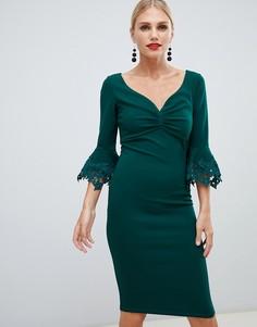 Платье-футляр миди с кружевной отделкой City Goddess - Зеленый