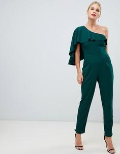 Комбинезон на одно плечо с широкими штанинами City Goddess - Зеленый