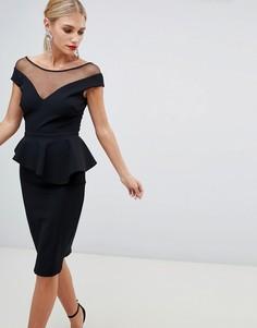 Платье миди с баской и декоративной отделкой City Goddess - Черный