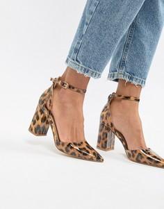 Лакированные туфли на каблуке с леопардовым принтом RAID Katy - Мульти