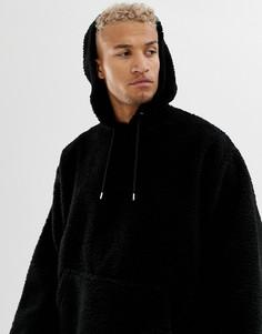 Oversize-худи с искусственным мехом ASOS DESIGN - Черный