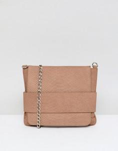 Кожаная сумка через плечо со змеиным эффектом Urbancode - Рыжий
