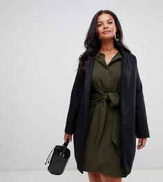 Черное пальто средней длины Missguided Plus - Черный