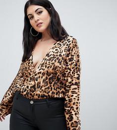 Боди с леопардовым принтом Missguided Plus - Коричневый