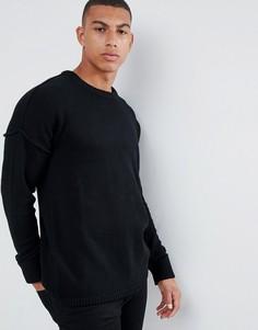 Трикотажный джемпер с заниженной линией плеч Another Influence - Черный