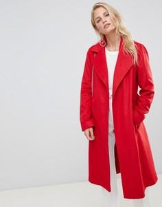 Пальто с запахом и поясом Helene Berman - Красный