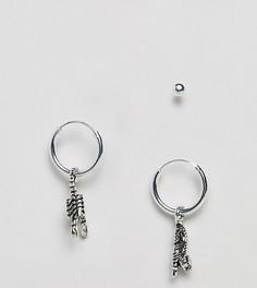Серебряные серьги-кольца с подвесками и серьги-гвоздики ASOS DESIGN - Серебряный