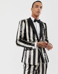 Черный приталенный пиджак-смокинг с полосками из пайеток ASOS EDITION - Черный