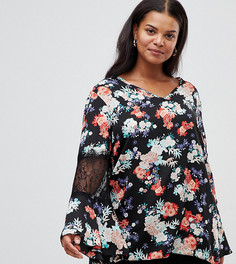 Блузка с цветочным принтом и полупрозрачными вставками Lovedrobe - Мульти