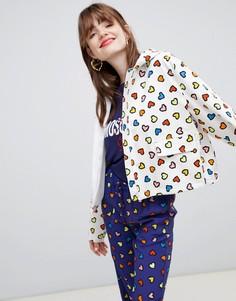 Дождевик с капюшоном и принтом сердец Love Moschino - Синий