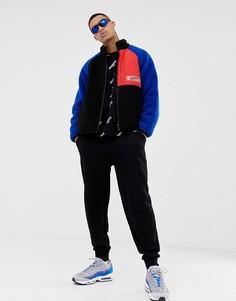 Нейлоновая куртка на молнии с отделкой из искусственного меха Mennace - Синий