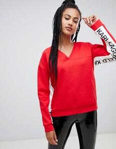 Свитшот с логотипом и V-образным вырезом Karl Lagerfeld - Красный