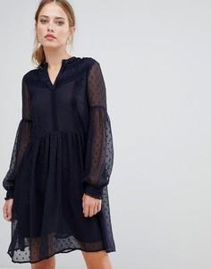 Платье из сетки в горошек Y.A.S Luna - Темно-синий