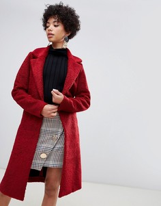 River Island single button teddy coat in red - Красный