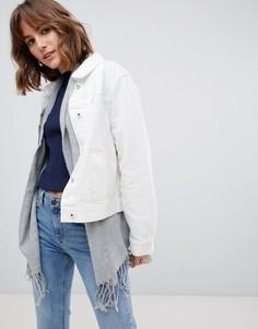 Белая джинсовая куртка со съемным внутренним шарфом Maison Scotch - Белый